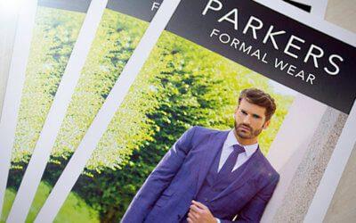 Parkers Formal Wear A4 Folded Mini Brochures