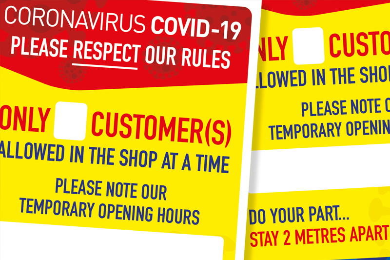 Image of Coronavirus Covid-19 social distancing shop posters