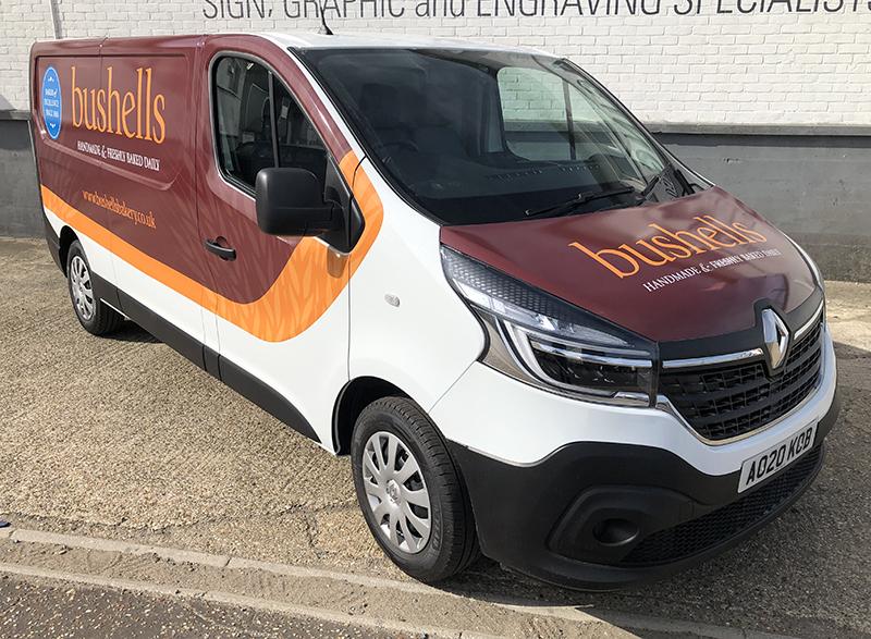 Photograph of new graphics on Bushells Bakery van