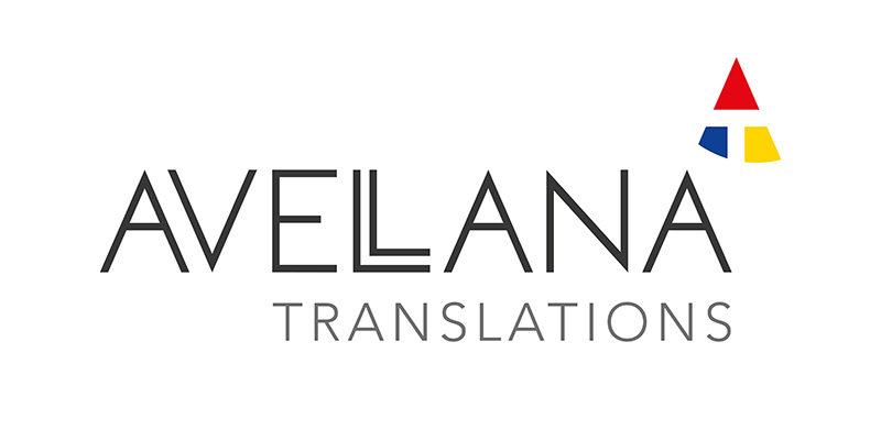 Avellana Translations logo with black sans serif font and red, blue, yellow logo device