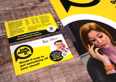 Photograph of the front and back of a business card for Talk About It beside an A3 poster, laying on wooden floorboards